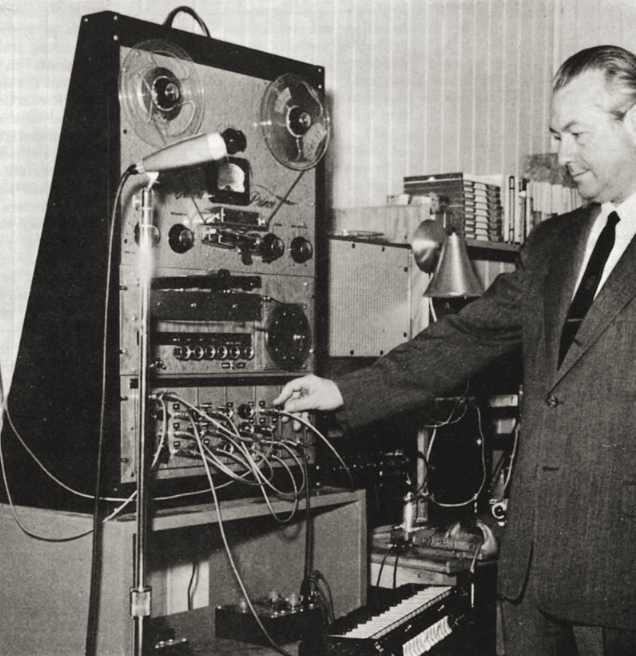Harald Bode demonstrating the Audio System Synthesiser